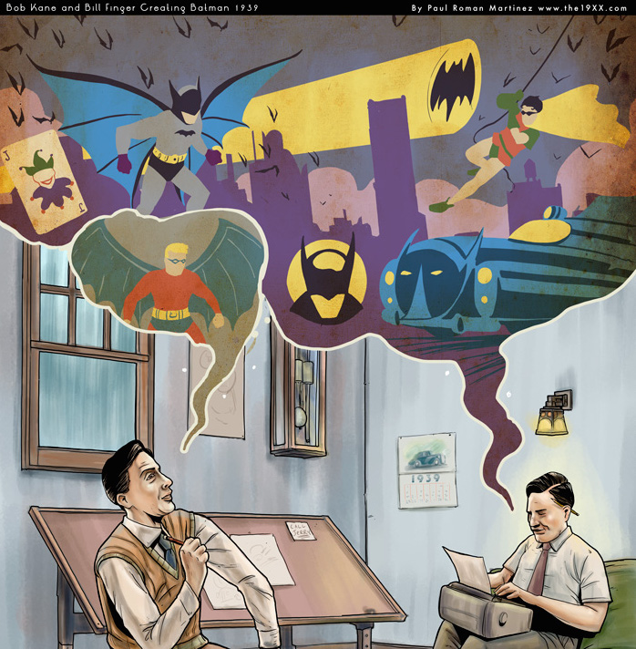 Cartoon of Bob Kane and Bill Finger creating Batman